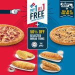 Dominos Buy 1 FREE 1 + 50%off selected bread items Promo Code Giveaway!