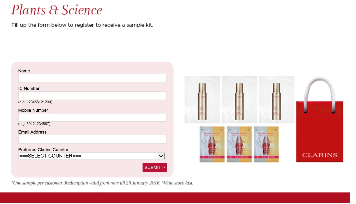 FREE Clarins Sample Kit (Double Serum, Shaping Facial Lift