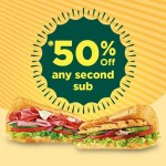 Subway Offer 50%off on Second Sub Promotion!