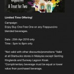 Starbucks Buy 1 FREE 1 on Any Frappuccino Blended Beverage Promotion!