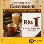OLDTOWN White Coffee or Kaya & Butter Toast at RM1 only!