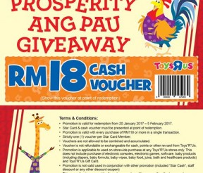 FREE Toys R Us RM18 Cash Voucher Giveaway!
