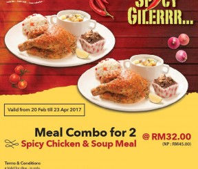 Kenny Rogers ROASTERS Offer Combo for 2 – Spicy Chicken & Soup Meal Promo!