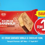 NEW Wall's Ice Cream Sandwich Vanilla Or Chocolate at RM 1 Only!