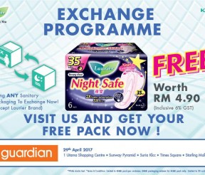 FREE Laurier Night Safe 35cm Pack worth RM 4.90 Giveaway!