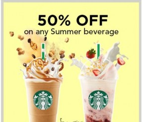 Starbucks Offer 50%off on Any Summer Beverage Deal!