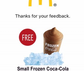 McDonald's FREE One Small Frozen Coca Cola Drink Giveaway!