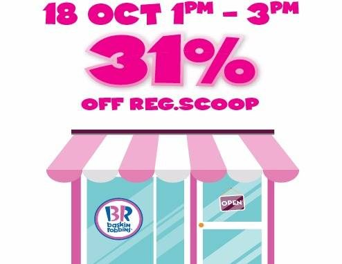 Baskin-Robbins Offer 31%off on ALL Handpacked Ice Cream Deal