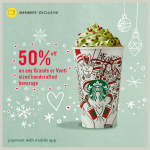 Starbucks Beverage Half Price Deal! – 星巴克饮料半价优惠!