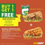 Subway Buy 1 Free 1 Deal! – Subway快餐买一送一优惠促销!