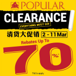Popular Bookstore Clearance, Buy 1 FREE 1, Up to 70%off Discount! – Popular书局清货促销,买一送一,高达70%的折扣!