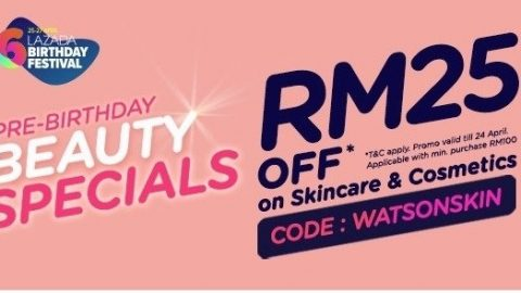 Watsons offer RM25 off on Skincare & Cosmetics