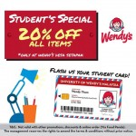 Wendy's 20%off all items promotion!