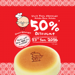 Uncle Tetsu Cheesecake 50%off promotion!