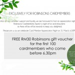 FREE RM30 Robinsons Gift Voucher Giveaway!