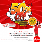 AirAsia Offer Up to 50% off your returning flight, for 50 hours only!