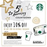 Starbucks Offer 10%off Any Food and Beverage Deals!