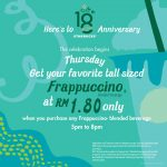 Starbucks Offer Tall Sized Frappuccino at RM1.80 Only!