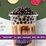 FREE Promo Code RM6.90 Tealive Drink Voucher (Regular) Only RM3! – 免费折扣代码!