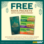 FREE Subway Limited Edition Raya Packets With Coupon Inside! 免费Subway折扣券!