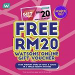 FREE RM 20 off Watsons Online Gift Voucher Giveaway!